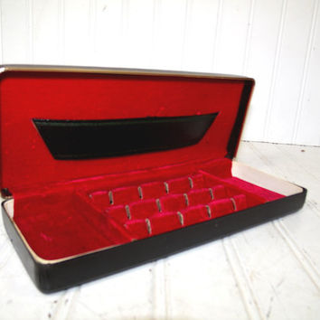 Vintage Black Leatherette Jewelry Box Green Tooling & Gold Metal Trim - Retro Dresser Valet and Travel Organizer with Red Velvet Interior