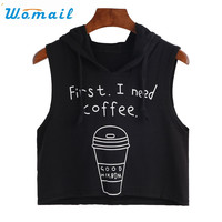 Newly Design 1PC First I Need Coffee Hooded Tank Top Women Summer Clothing 170110 Drop Shipping