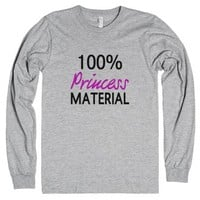 100% Princess Material-Unisex Heather Grey T-Shirt
