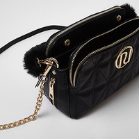 Black quilted faux fur strap chain bag - Shoulder Bags - Bags / Purses - women