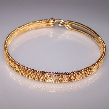 Minimalist Wire Wrapped Gilt On Copper Bangle Bracelet, Cuff Bracelet, Bracelet From Gilt On Copper Wire