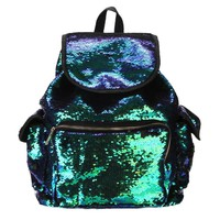 2018 Backpack leather Double Color Sequins School Bag