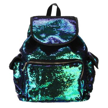 Women pu Leather Double Color Sequins Backpack
