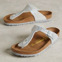 Birkenstock Gizeh Sandals Pebbled Metal