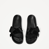 SATIN BOW SLIDES