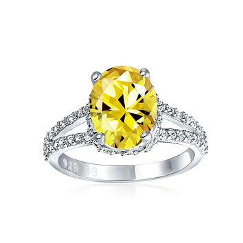 3CT Canary Yellow Oval AAA CZ Engagement Ring Band Sterling Silver