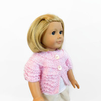 Knit Doll Sweater, 18 Inch Doll Clothes, Pink Doll Shrug, Toys