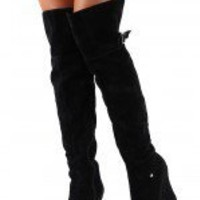 Ceasar-02N Round Toe Thigh High Wedge Boot