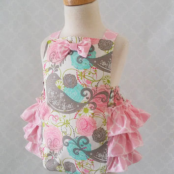 Baby Girl Romper, Pink Baby Romper, Cake Smash Outfit, Baby Birds Romper, Baby Sunsuit, Ruffle Romper, Baby Jumpsuit, 1st Birthday Romper