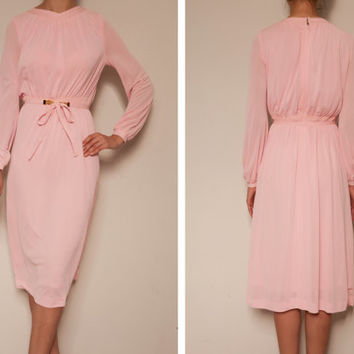 1980's japanese light pink vintage dress,Long sleeve dress,Pink dress,Chiffon dress,Tea dress, autumn fall dress,dress with a belt