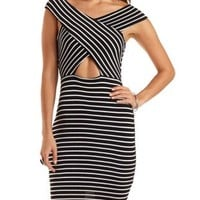Striped Cut-Out Crossover Dress by Charlotte Russe
