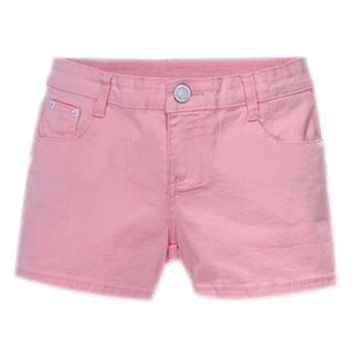 SYB 2016 NEW Summer Denim Shorts Slim Fit Candy Color Short Pants Short Jeans Women Shorts Denim pink
