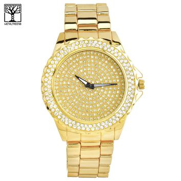 Jewelry Kay style Men's Iced Out CZ Fashion 14K Gold Plated Heavy Metal Band Watches WM 8577 G