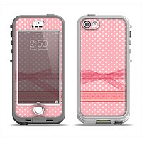 The Subtle Pink Polka Dot with Ribbon Apple iPhone 5-5s LifeProof Nuud Case Skin Set