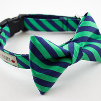 Green Navy Blue Stripes Bow Tie Dog Collar