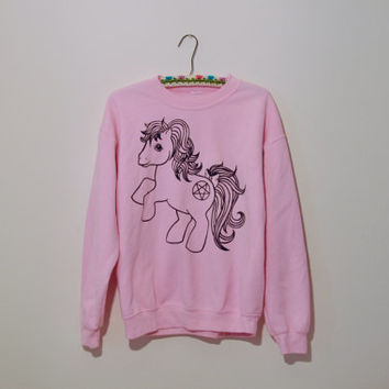 Baby pink kawaii My Little Pony unicorn pentogram sweatshirt