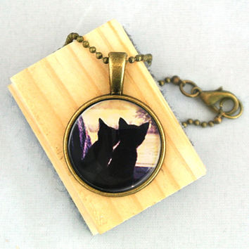 10 SALE Necklace A Couple of Cute Cats Valentine's by timegemstone