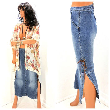 Vintage long denim skirt size small, 80s retro jean maxi skirt leather laced, 1980s London Blue boho hippie long jean skirt, Sunny Boho