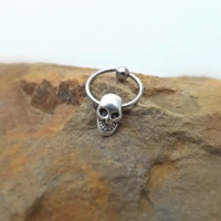 Skull Captive Hoop Earring Cartilage Body Jewelry 18ga 16ga