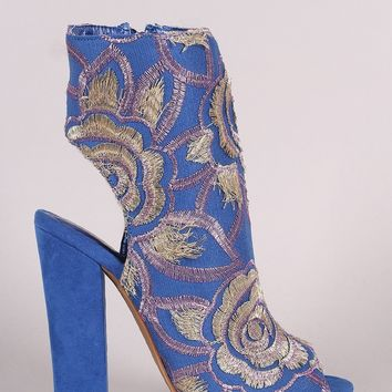 Shoe Republic LA Floral Embroidery Peep Toe Chunky Heeled Booties