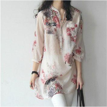 2018 New Women  Plus Size Blusas Shirts Spring Casual Linen Floral Print Three Quarter Sleeve Button Blouses Shirts Tops