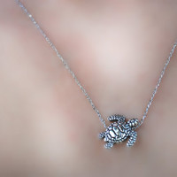Turtle Necklace -- Silver Turtle, Silver, Sea Turtle Necklace