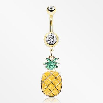 Golden Sweet Juicy Pineapple Belly Button Ring