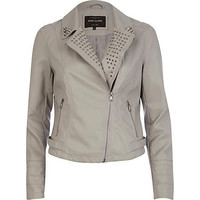 Grey studded collar leather look biker jacket