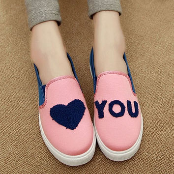 Cute Heart Asymmetric Pattern Canvas Shoes