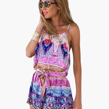 Pink Vintage Print Cotton Blend Summer Romper