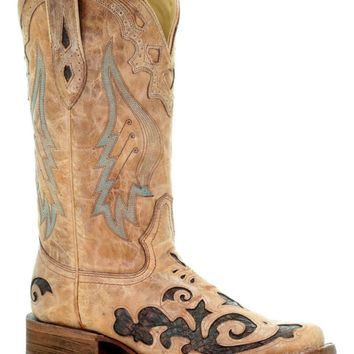 Corral Women's Sand Brown Leather Lizard Cowboy Boots