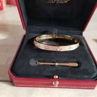 cartier love bracelet size 19 gold with stones
