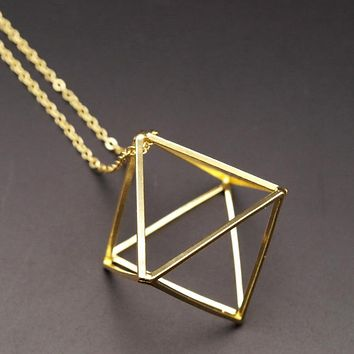 2016 Fashion Gold/Silver/ Black Copper 3D Geometric rhombus shape False Collar Necklace Pendant For Women Jewelry collar bijoux