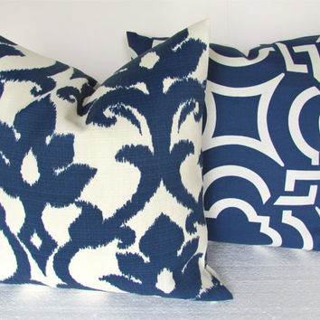 Sale PILLOWS SET of 2 - 16x16 NAVY  Blue Outdoor Throw Pillow Covers 16x16 Indoor Outdoor Dark Blue Nautical Floral Decorative Throw pillows