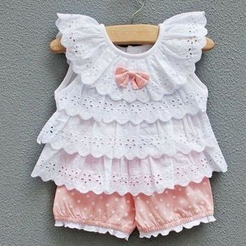 2Pcs Infant Toddler Baby Girls Outfits Ruffled T-shirt Tops+Shorts Clothes Sets