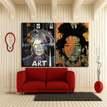 Print Oil Painting Jean Michel Basquiat with andy warhol Wall painting