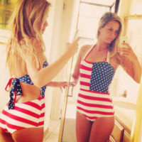 American Flag Print Halter One Piece Swimwear Bikini Swimsuit