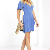 Here to Flirt Periwinkle Blue Wrap Dress