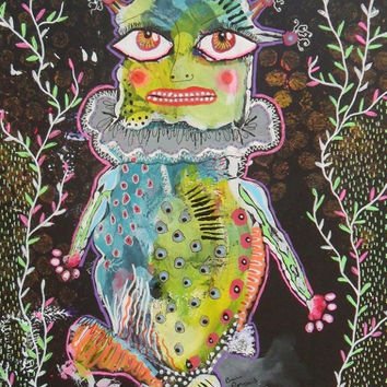 Original Alternative Folk Art Green Blue Unusual Childrens Monster Big Eyes Alien Spooky Goth Figure