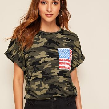 American Flag and Camo Print Rolled Cuff Tee