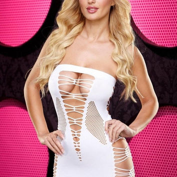 Backroom White Shredded Mini Dress in OS