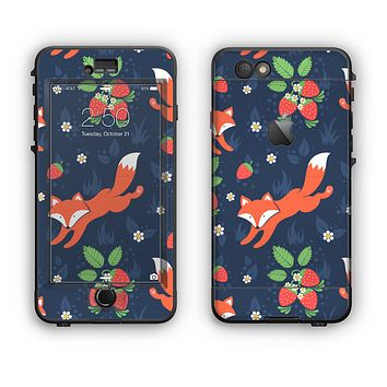 The Running Orange & Navy Vector Fox Pattern Apple iPhone 6 Plus LifeProof Nuud Case Skin Set