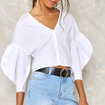 Take Sleeve Cropped Blouse