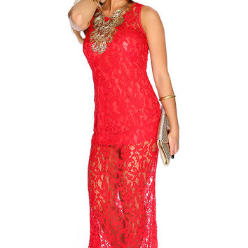 Sexy Red Embroidered Mesh Sleeveless Maxi Dress