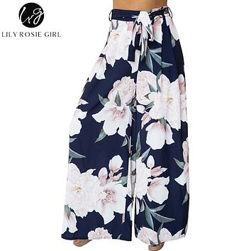 Lily Rosie Girl Floral Print Wide Leg Pants Women Long Casual Pant 2018 Summer Boho Beach Elastic High Waist Chiffon Trousers