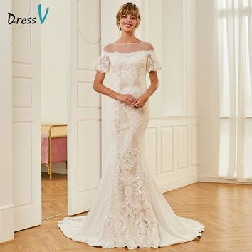 Dressv Scoop Neck Mermaid Wedding Dress Short Sleeves Court Train Lace Zipper-up Trumpet Church Garden Princess Wedding Dresses