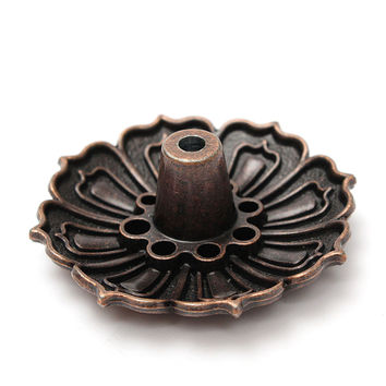 Newest Lotus Shape Metal Incense Plate Burner Holder 9 Holes for Stick Cone Incense Aromatherapy Buddhist Craft Gift Home Decor