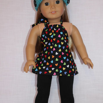 2 piece set! black with hearts halter top, and black leggings, 18 inch doll clothes american girl maplelea