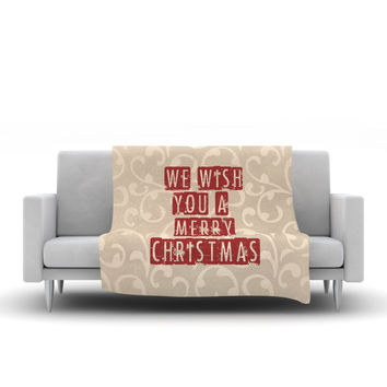 "Sylvia Cook ""We Wish You A Merry Christmas"" Holiday Fleece Throw Blanket"