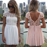 Women's Crochet Lace Stitching Embroidery Cute Dress Ladies